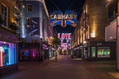 Weihnachtslichter auf Carnaby-Straße, London Großbritannien Lizenzfreies Stockfoto