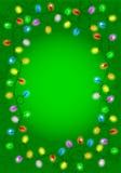 Weihnachtslichter auf grünem Hintergrund mit Raum für Text Stockfotografie