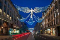 Weihnachtslichter auf Regent Street, London Großbritannien Stockfotografie