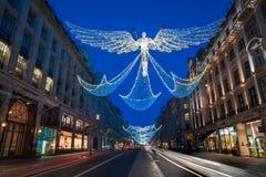 Weihnachtslichter auf Regent Street, London Großbritannien Lizenzfreie Stockfotografie