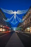 Weihnachtslichter auf Regent Street, London Großbritannien Lizenzfreies Stockbild