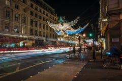 Weihnachtslichter auf Regent Street, London Großbritannien Stockbild