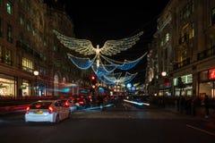 Weihnachtslichter auf Regent Street, London Großbritannien Lizenzfreies Stockfoto