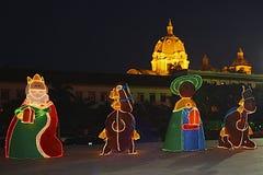 Weihnachtslichter in Cartajena, Kolumbien Stockfotos