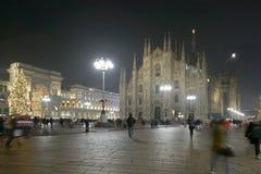 Weihnachtslichter am Duomoquadrat, Mailand, Italien Lizenzfreies Stockbild