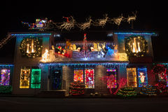 Weihnachtslichter im Weihnachtsdorf, Salem, Oregon Lizenzfreies Stockfoto