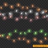 Weihnachtslichter lokalisiert auf transparentem Hintergrund Lizenzfreies Stockfoto