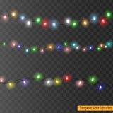 Weihnachtslichter lokalisiert auf transparentem Hintergrund Lizenzfreie Stockfotos
