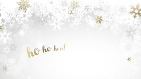 Weihnachtslichthintergrund mit den weißen und goldenen Schneeflocken Lizenzfreie Stockbilder