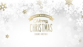 Weihnachtslichthintergrund mit den weißen und goldenen Schneeflocken Stockbilder