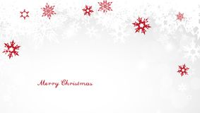 Weihnachtslichthintergrund mit den weißen und roten Schneeflocken Stockfotografie