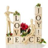 Weihnachtsliebe, -freude und -frieden Stockfotografie