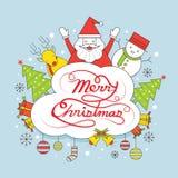 Weihnachtslinie Aufkleber mit Maschinenschriftsatz Stockbild