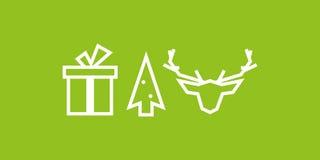Weihnachtslinie Ikone: Geschenk, Baum, Ren Lizenzfreie Stockfotografie