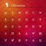 Weihnachtslinie Ikonen Stockbilder