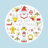 Weihnachtslinie Ikonen-Aufkleber Lizenzfreie Stockbilder