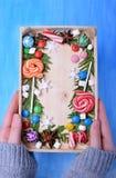 Weihnachtslutscher, Bonbons von verschiedenen Farben, Eibische und Thujaniederlassungen, die Kopienraum gestalten lizenzfreie stockfotografie