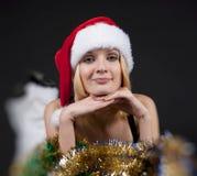 Weihnachtsmädchen über Filterstreifen Stockfotos