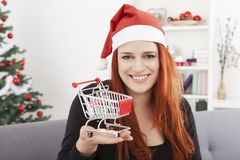 Weihnachtsmädchen mit Minieinkaufslaufkatzenwarenkorb Lizenzfreies Stockfoto