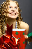 Weihnachtsmädchenspaß Lizenzfreies Stockbild