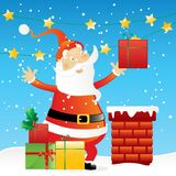 Weihnachtsmann auf dem Dach Stockfotografie