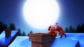 Weihnachtsmann auf dem Dach stock footage