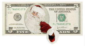 Weihnachtsmann auf Dollarbanknote Stockfotografie