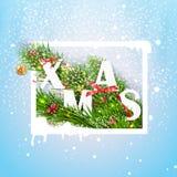 Weihnachtsmann auf einem Schlitten Auch im corel abgehobenen Betrag Stockbild