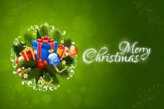 Weihnachtsmann auf einem Schlitten Beschriftung der frohen Weihnachten Stockbild