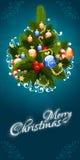Weihnachtsmann auf einem Schlitten Beschriftung der frohen Weihnachten Stockbilder