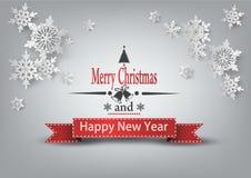 Weihnachtsmann auf einem Schlitten Beschriftung der frohen Weihnachten Stockfotografie