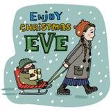 Weihnachtsmann auf einem Schlitten Genießen Sie Weihnachtsabends-Titel Hand gezeichnet Mädchen reitet ihren Babybruder auf den Pf Lizenzfreie Stockfotos
