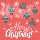 Weihnachtsmann auf einem Schlitten Weihnachtsbäume bedeckt mit Schnee, Schneeflocken, Muster, beschriftend - frohe Weihnachten lizenzfreie abbildung