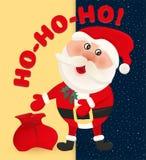 Weihnachtsmann auf Hintergrund des nächtlichen Himmels mit Sternen Weihnachtsmann und roter Ball Nette Karte der Winterkarikatur  Stockfoto