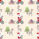 Weihnachtsmann auf Muster-Vektorentwurf des Fahrrades nahtlosem vektor abbildung