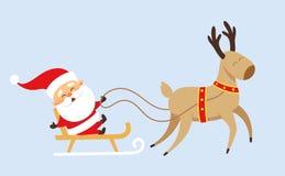 Weihnachtsmann auf Pferdeschlitten vektor abbildung