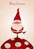 Weihnachtsmann auf Pilz Stockbild