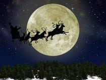 Weihnachtsmann auf Schlitten mit Rotwild stock abbildung
