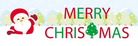 Weihnachtsmann auf Schnee mit Textgraphiken frohen Weihnachten lizenzfreie stockbilder