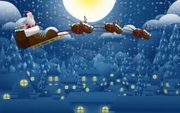 Weihnachtsmann auf Schneerückseitenboden Stockbild