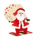 Weihnachtsmann auf Snowboard Stockfotografie