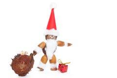 Weihnachtsmann bildete von den Kastanien, von den Eicheln und von den Bucheckern Stockfotos
