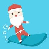 Weihnachtsmann-Charakterspiel Brandungs-Bretter und Ikonenkarikatur, Vektorillustration Stockfoto