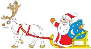 Weihnachtsmann, der in den Pferdeschlitten mit Ren antreibt lizenzfreie abbildung