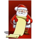 Weihnachtsmann, der eine Cristmas Geschenkliste Rolle anhält   stock abbildung