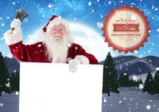 Weihnachtsmann, der eine Glocke beim Halten des Plakats 3D schellt Stockfoto