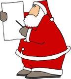 Weihnachtsmann, der eine Nadelanzeige verwendet Lizenzfreie Stockbilder