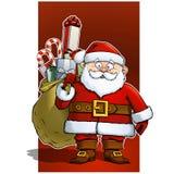 Weihnachtsmann, der einen Sack mit Weihnachtsgeschenken anhält vektor abbildung
