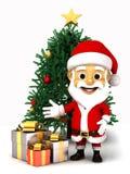Weihnachtsmann, der Geschenkboxen und critmas Baum zeigt Lizenzfreies Stockbild