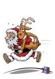 Weihnachtsmann in der Hast Lizenzfreie Stockbilder